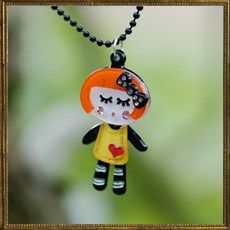 Cheeky Girl necklace - orange & black
