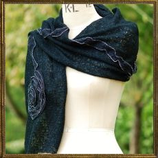 Mohair Flower scarf - black