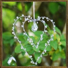 Beaded Metal hearts - clear