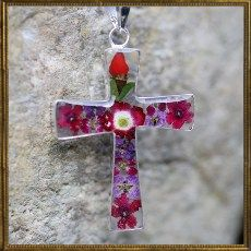 Flower cross necklace - large