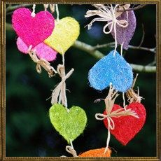 Heart garland - multi coloured